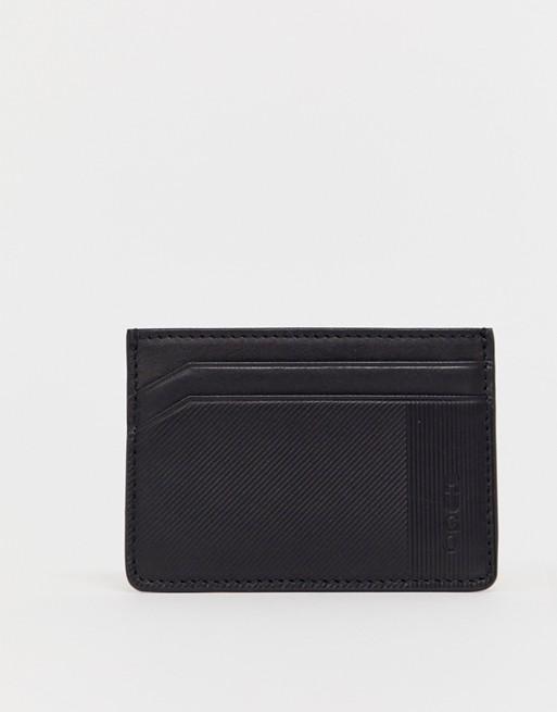 HUGO Subway leather card holder in black