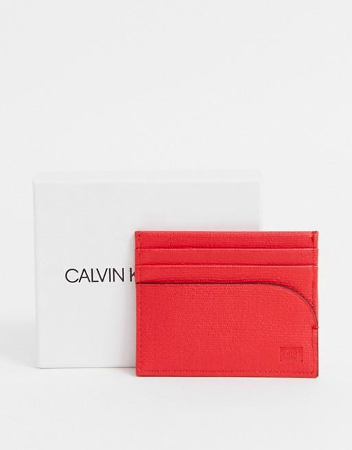 Calvin Klein Jeans logo embossed card holder in red