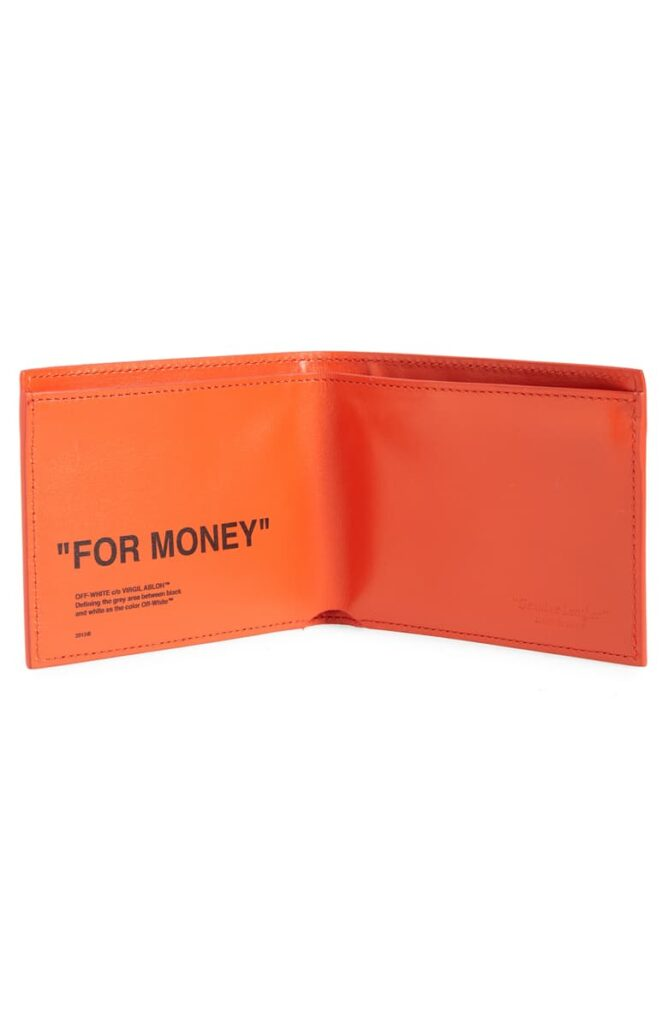 Quote Leather Wallet off-white