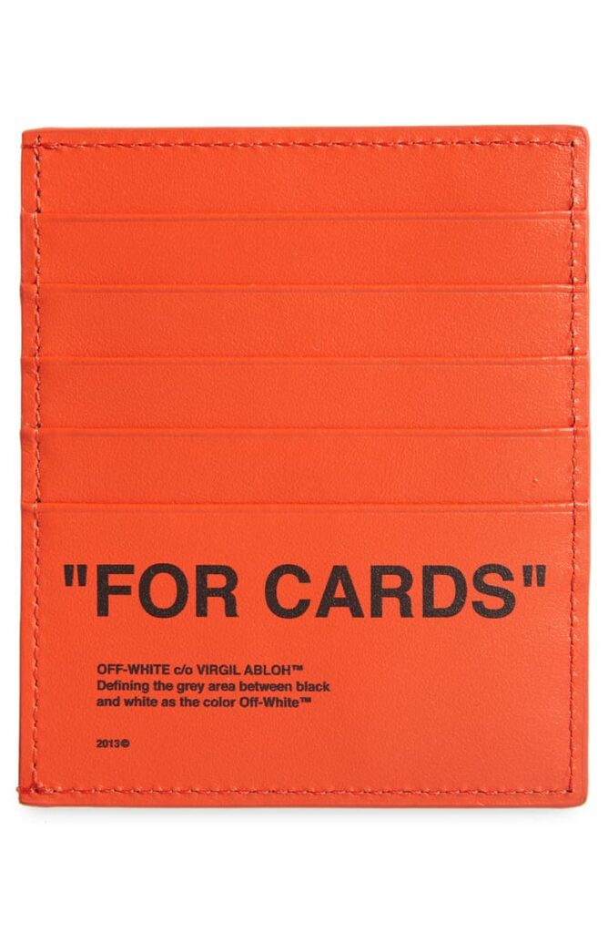 Quote Leather Card Holder off-white