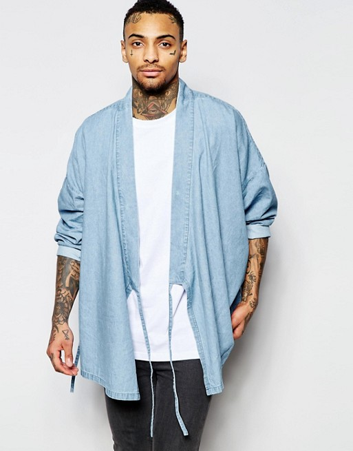 ASOS Military Denim Kimono With Tie Front