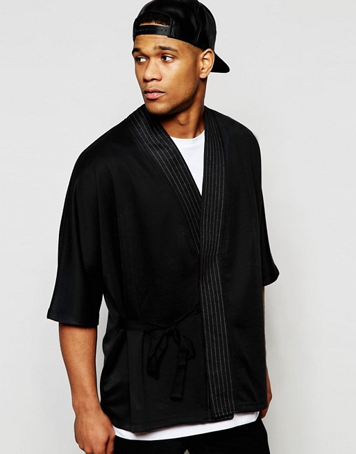 ASOS Textured Kimono Cardigan With Stitching