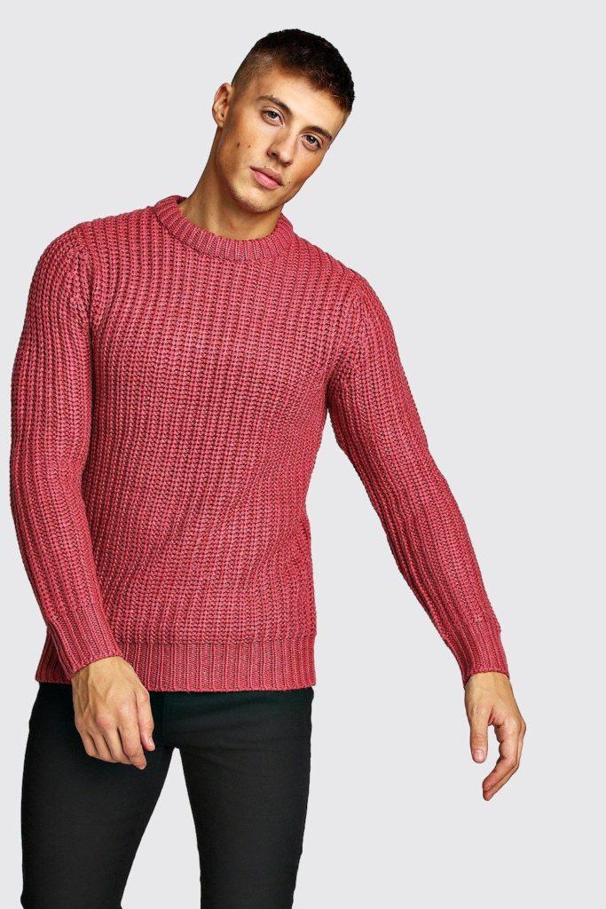 Drop Shoulder Fisherman Stitch Knitted Jumper