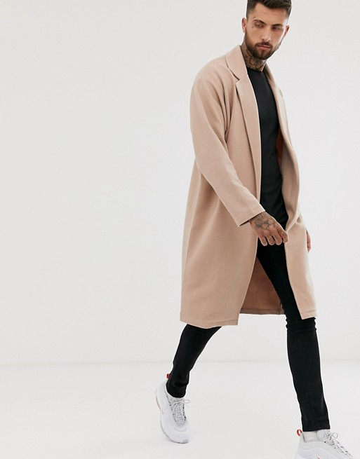 ASOS DESIGN oversized jersey duster jacket in beige ribbed fabric