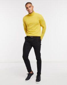 ASOS DESIGN cotton roll neck jumper in mustard